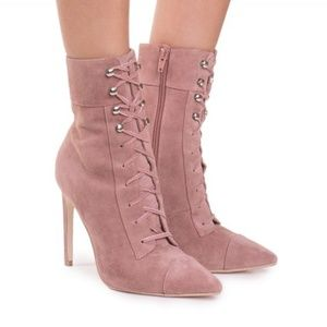 Jeffrey Campbell Elphaba Lace Up Rose Suede Boots